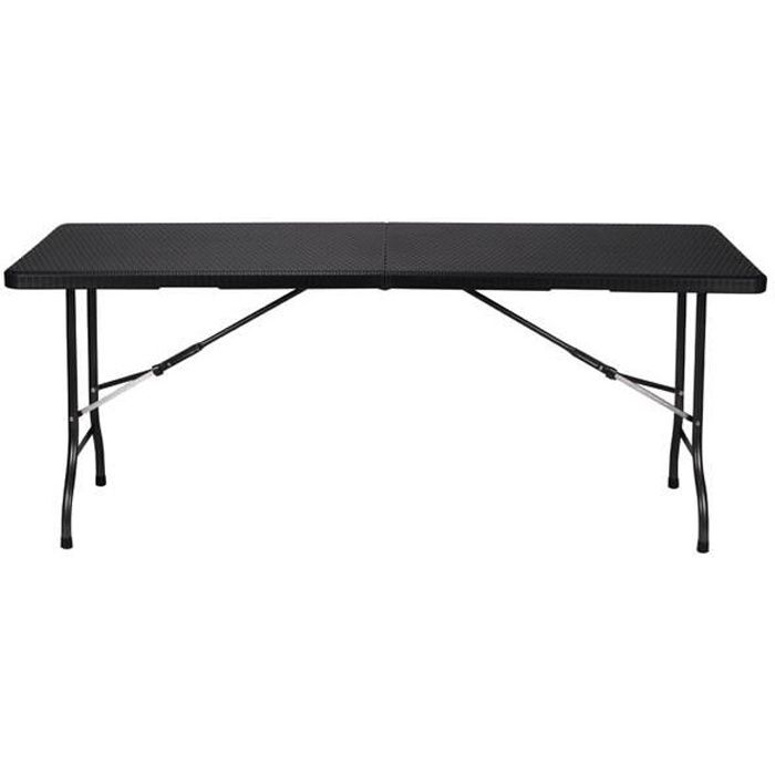 Table pliante noir design 6 personnes achat vente for Table pliante murale 4 personnes