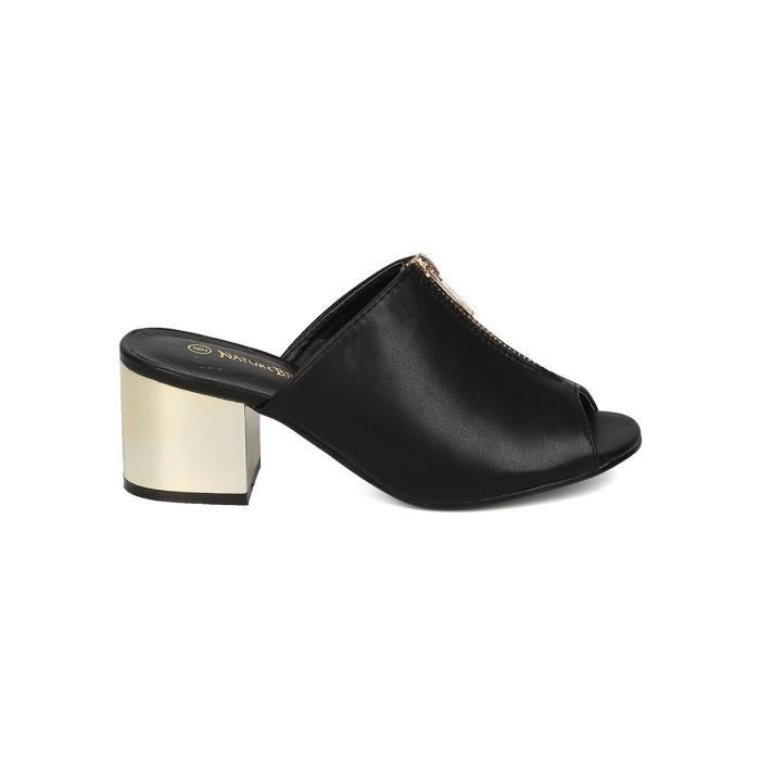 Skaï métallique talon Mule - Casual, Dressy, On The Go - Peep Toe Mule - Gg92 T5QG1 Taille-39