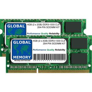 MÉMOIRE RAM 4Go (2 x 2Go) DDR3 1333MHz PC3-10600 204-PIN SODIM