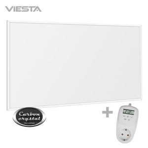 derni/ère Technologie 450 Watts TH10 Thermostat VIESTA F450 Panneau de Chauffage Infrarouge Crystal Carbon Panneau radiateur Ultra Mince Chauffage Mural Blanc