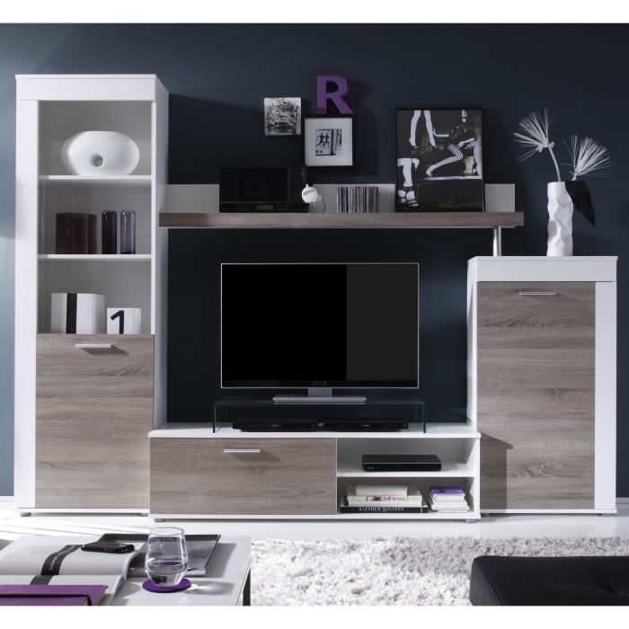 road meuble tv mural 258cm coloris ch ne structur et coloris blanc comprenant 4 l ments. Black Bedroom Furniture Sets. Home Design Ideas