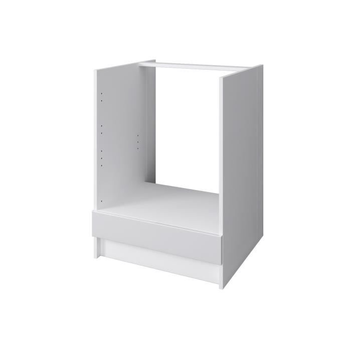 City meuble bas four 60 cm laqu blanc brillant achat vente elements ba - Meuble bas laque blanc ...