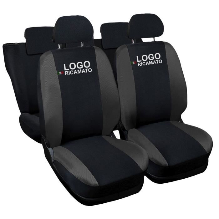 Housses de siège deux-colorés pour Renault Twingo - noir gris foncè