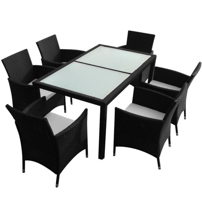Magnifique Ensemble de mobilier de jardin 13 pieces Rotin synthetique Noir