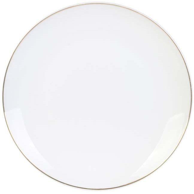 Home Deco Factory KA4570 Assiette plate ronde Liseré doré Petit modèle Porcelaine Blanc D20,3 x H2,4 cm