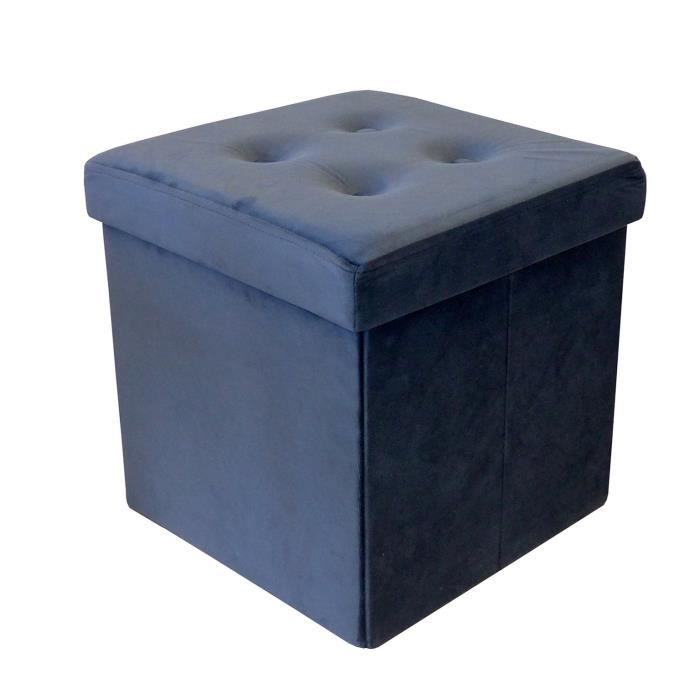 COTTON WOOD Pouf Coffre pliable Velours - 35 x 35 x 35 cm - Marine
