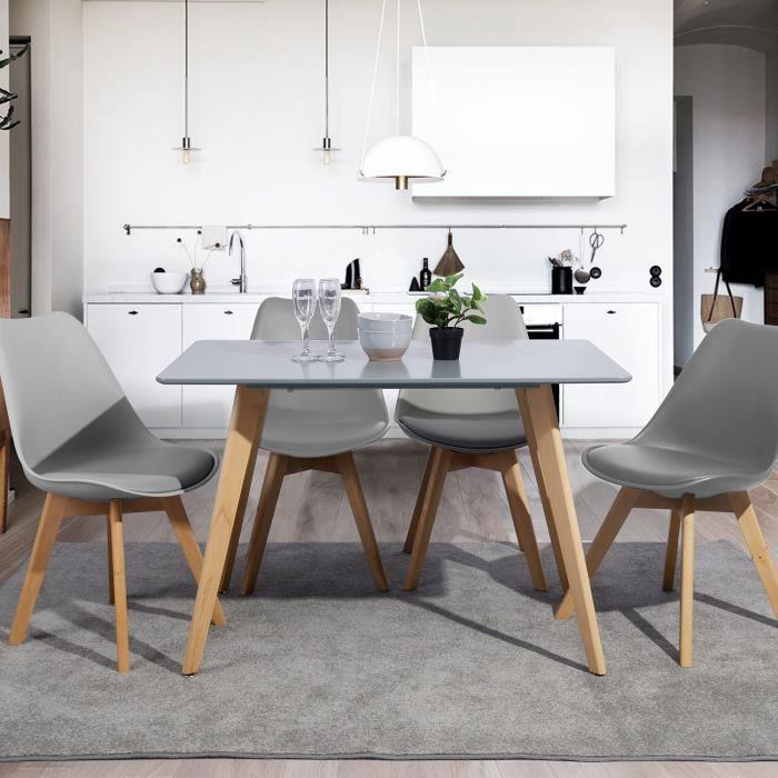 Table à Manger Rectangulaire - Scandinave Minimaliste - gris et Pieds Carrés en Bois 110 x 70 cm