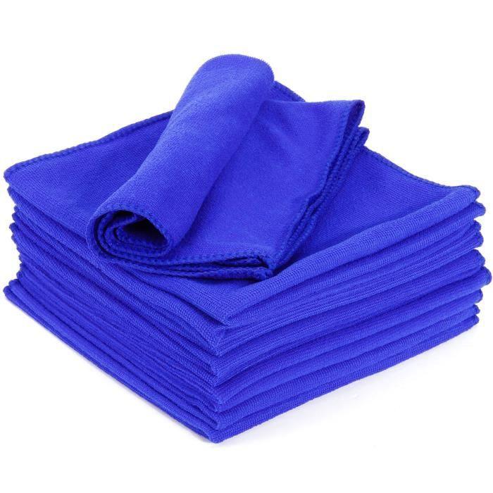 10x Serviette nettoyant chiffon nettoyage voiture meuble maison microfibre Bleu