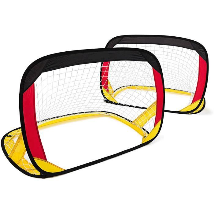 1 but de football Pop up Pliable Sac de rangement Piquets pour Enfants Cage de but Jardin parcs -120 x 85 x 85 cm, noir rouge jaune