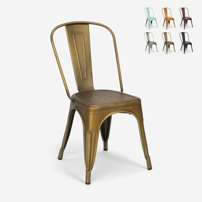 Chaises design industriel vintage en métal shabby chic style Tolix Steel Old, Couleur: Gold