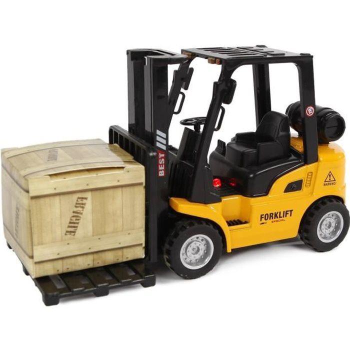 2-Play chariot élévateur à fourche rétractable 14 cm jaune/noir