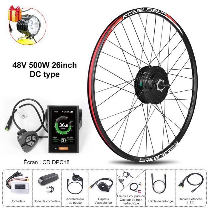 BAFANG 8FUN Kit de Moteur roue avant 48V 500W 26- avec Écran LCD 860C pour Vélo à assistance électrique