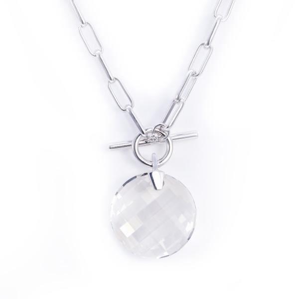Collier Cercle en Cristal Blanc Swarovski Elements et Plaqué Rhodium