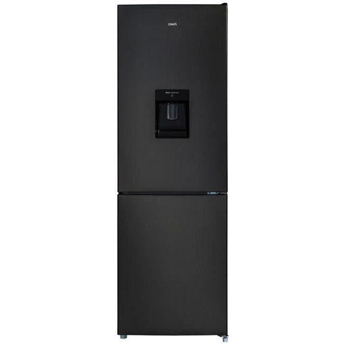 CHiQ Réfrigérateur congélateur bas FBM228NE4D 228L (158 + 70) Froid ventilé, No Frost, Acier inoxydable noir, portes réversibles, A+