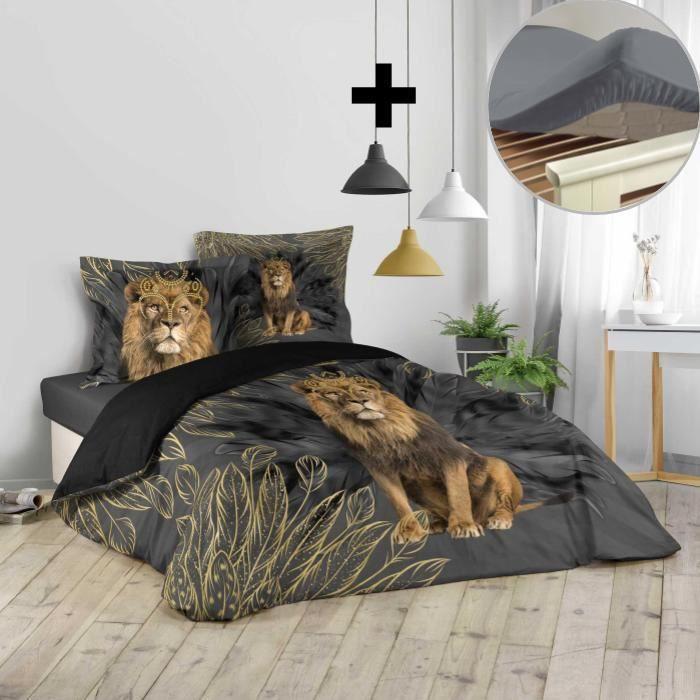 CDaffaires Pack parure de couette 260x240 cm Jungoleo + drap housse 160x200 gris