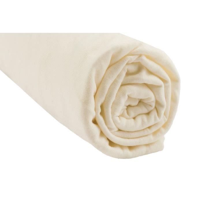 Drap housse coton bio pour lit 160x200 - coloris écru