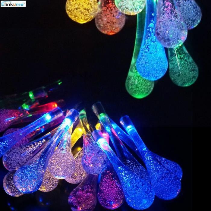 Guirlande Lumineuse Solaire 20LED 4,8m RGB IP65 Forme d'eau Décoration lumineuse extérieur Lumière pour Jardin , Mariage , Noël