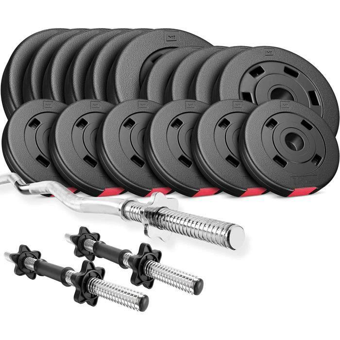 HS Hop-Sport 48,5 kg, 1x Barre Curl SZ, 2X haltères, Plaques de Poids 4x5kg / 4x2,5kg / 8x1,25kg