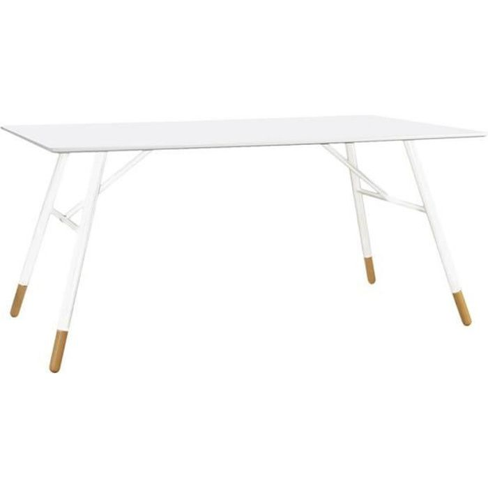 Table rectangulaire laqué blanc 160 cm Scandie - Id'Click