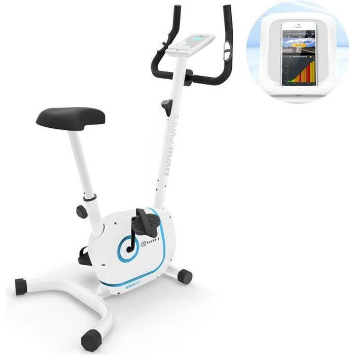 Klarfit Myon Cycle Vélo d'appartement cardiotraining silencieux avec support tablette - Inertie 12kg - résistance 8 niveaux - blanc