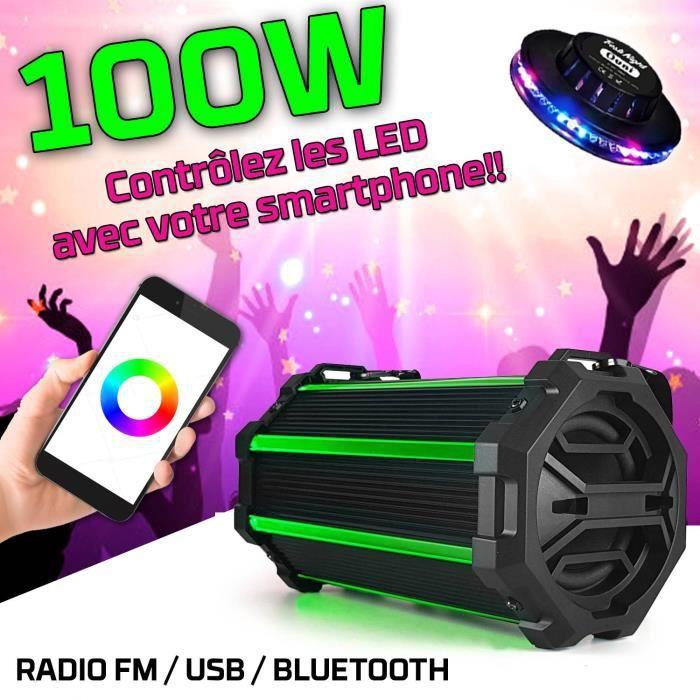 Enceinte Ghetto Blaster KARAOKE LED - 100W - RADIO FM-BLUETOOTH-USB + Bandoulière - Compatible app smartphone - KOOLSTAR BLASTER04