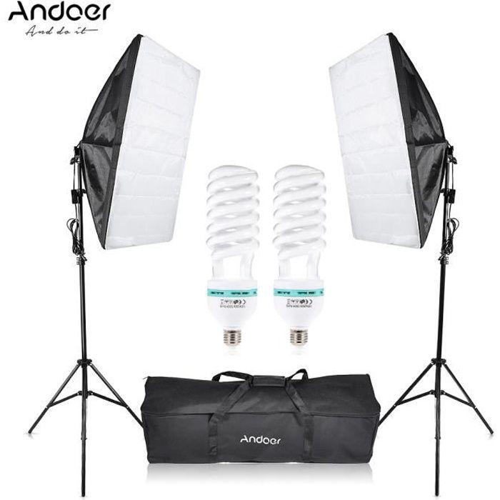 Andoer Ensemble de studio - 2*135W Ampoule 2* Trépied 2* Softbox 1 * Sac de transport