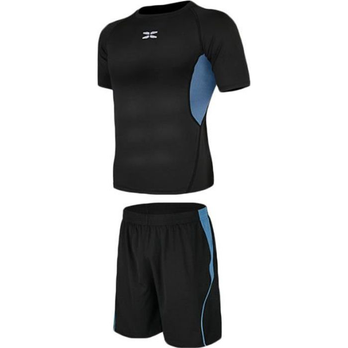 Ensemble de Vetement Homme 2 Pieces T-shirt+Short Pour Sport Fitness Running Ete