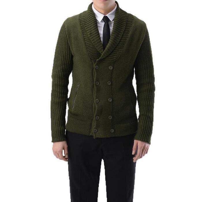 Cardigan homme de marque Cardigan en tricot slim Cardigan épais Cardigan de couleur unie pull homme