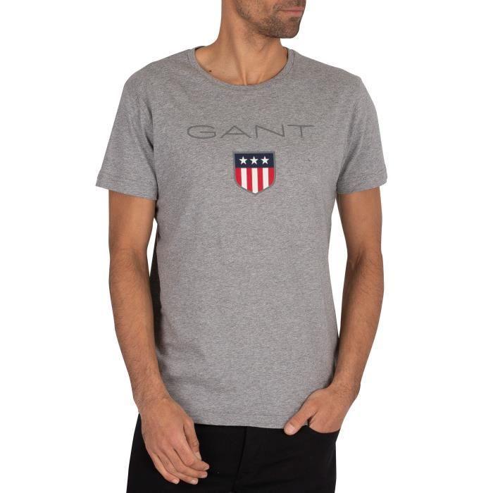 Gant Pour des hommes T-shirt bouclier, Gris