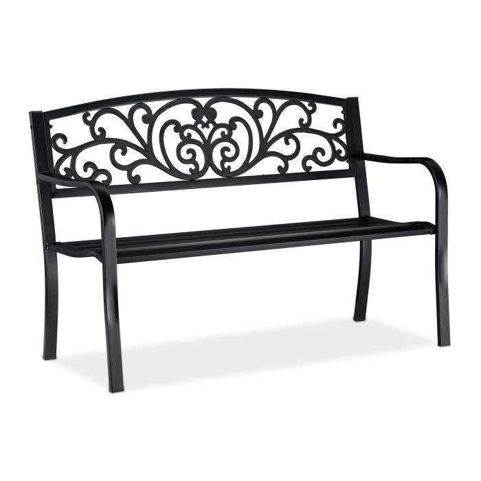 Relaxdays Banc de jardin, Banc extérieur, balcon, 2 places, fonte de fer, ornements, Fonte, acier 86,5x127x60 cm, noir -