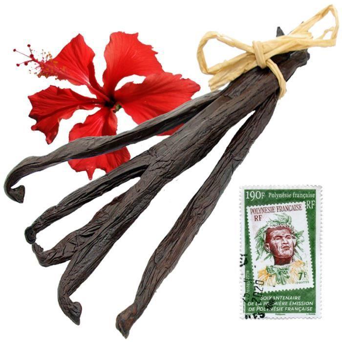 5 Véritables Gousses de VANILLE DE TAHITI« Origine Raiatea » 14 à 17cm pour 25gr de vanille. Production artisanale d'exception