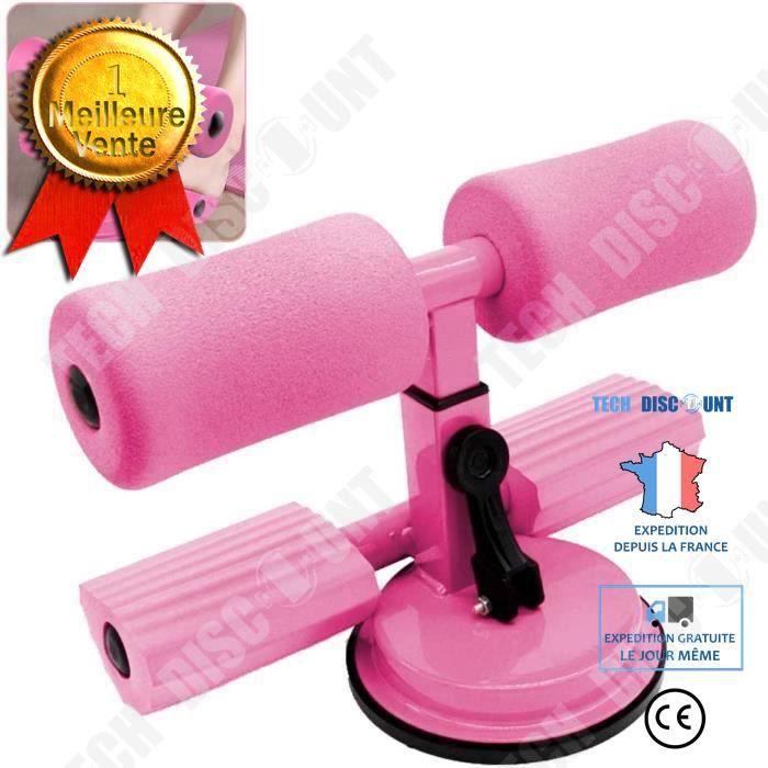 TD® Portable Sit-up Bar Aid Accessoires Yoga Abdominal Presse à Pied Ventouse Équipement De Fitness Pied Fixe (Rose)