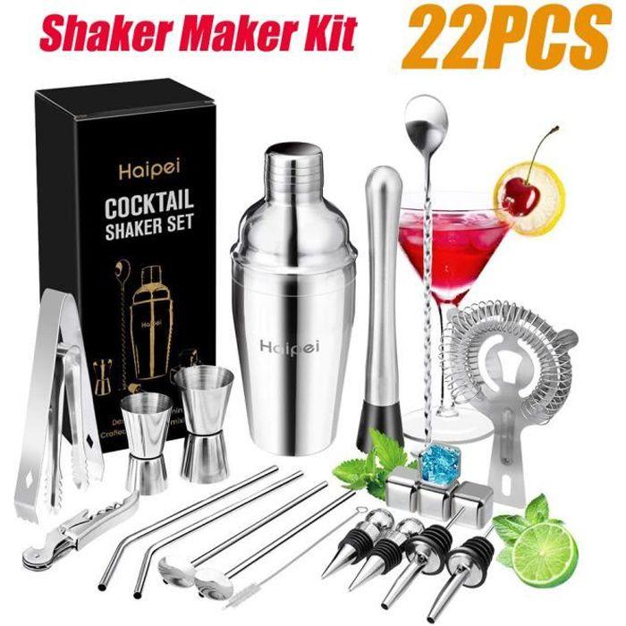 TEMPSA 22pcs Cocktail Shaker Mélangeur Outils Avec Pierres de Whisky En Acier Inoxydable 550ML