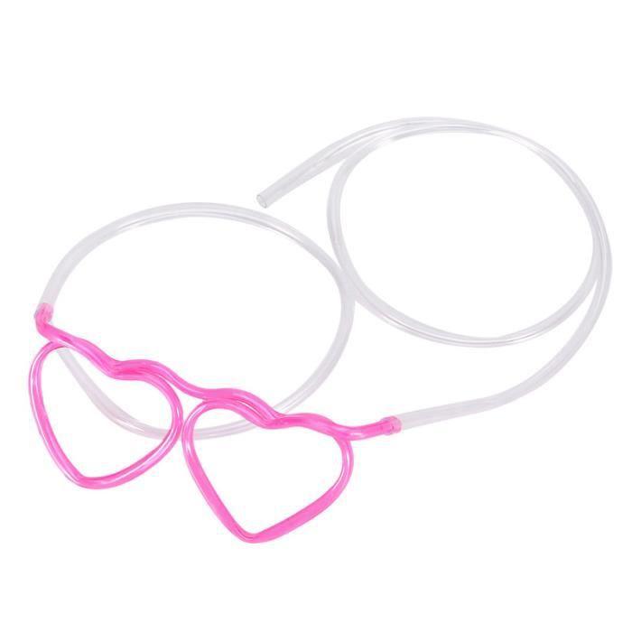 10pcs boire des lunettes de paille Lunettes Fun partie de coeur en forme de bricolage boire du tube de paille enfants fête