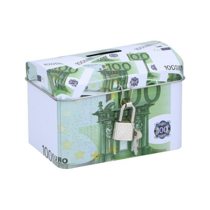 TOM tirelire 100 euros 11,6 x 8 cm acier vert/blanc