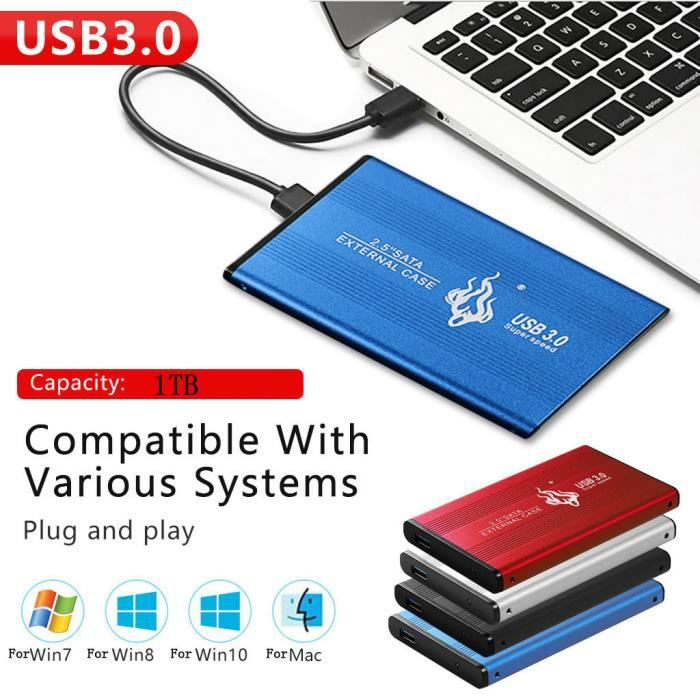 Windows 2 to, Argent Mac Apple Disque Dur Externe 2to Neeta 2.5 USB3.0 Disque Dur Externe pour PC Xbox 360