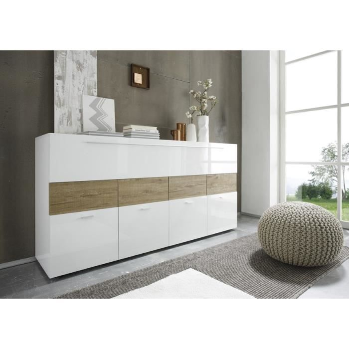 buffet blanc laqu et bois miel liona achat vente. Black Bedroom Furniture Sets. Home Design Ideas