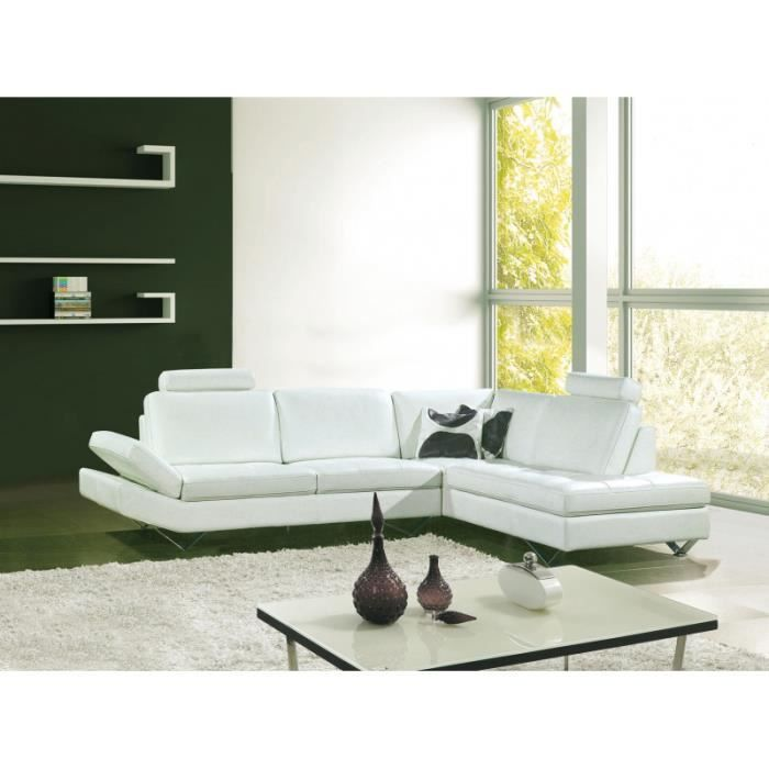 canap d 39 angle design en cuir blanc roxy achat vente canap sofa divan cuir bois. Black Bedroom Furniture Sets. Home Design Ideas