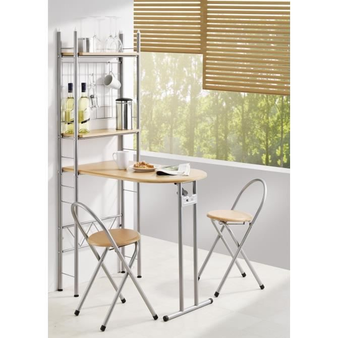 Cuisine bar pliable 2 tag res et 2 tabourets achat - Table bar murale ...