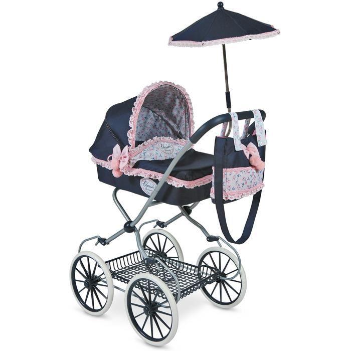 Poussette poupée landau élegant grande grosse roue parapluie sac