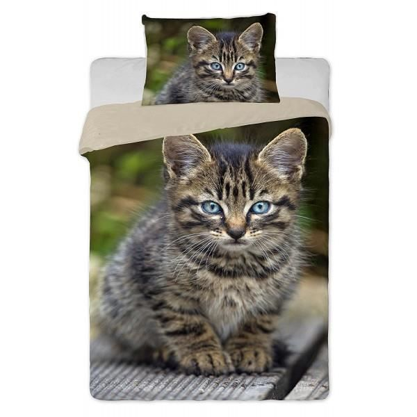 parure de lit chat chaton tigr achat vente parure de drap cdiscount. Black Bedroom Furniture Sets. Home Design Ideas