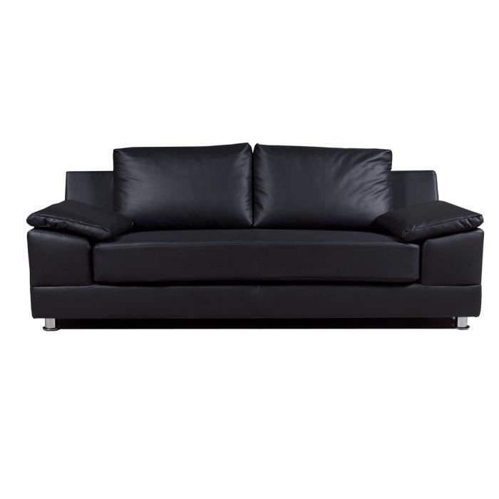 canap 3 places simili cuir noir arizona achat vente canap sofa divan cuir pvc mdf. Black Bedroom Furniture Sets. Home Design Ideas