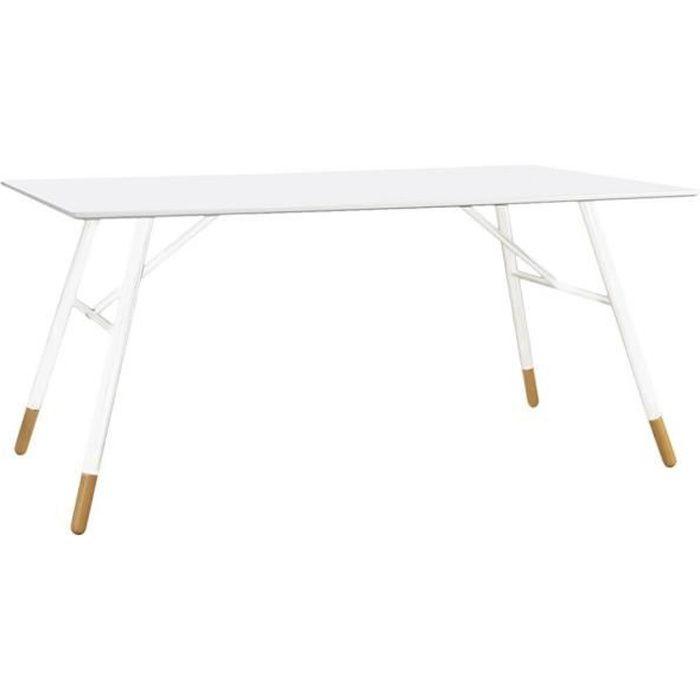 TABLE À MANGER SEULE Table rectangulaire laqué blanc 160 cm Scandie - I