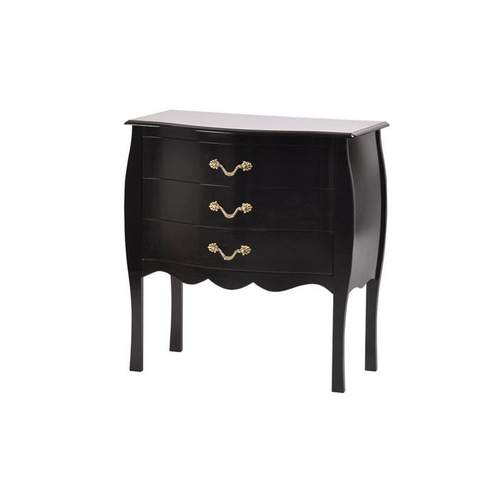 commode baroque noire 3 tiroirs louisa achat vente commode de chambre commode baroque noire. Black Bedroom Furniture Sets. Home Design Ideas