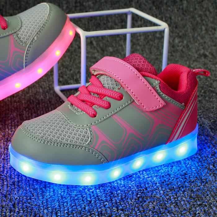 Mode Enfants chaussures 7 Couleu USB Charge LED Lumineux Chaussures de Sports BasketsFille Rose
