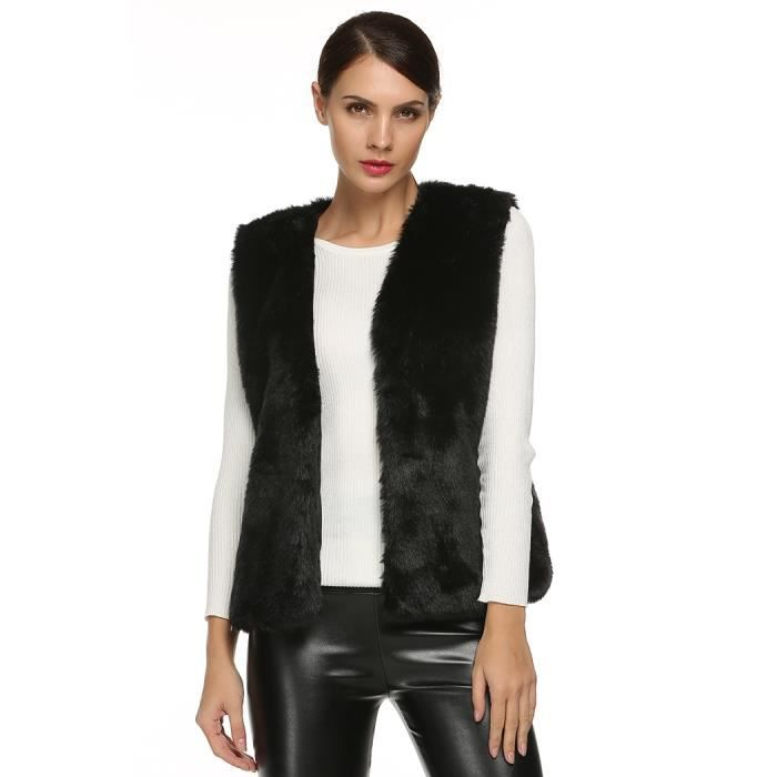 acevog gilet femmes mode fourrure artificiel noir noir achat vente gilet cardigan cdiscount. Black Bedroom Furniture Sets. Home Design Ideas