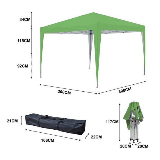 Tonnelle de jardin verte 3x3m ECO BRISO Tube 30mm en aluminium & acier  Bâche 420D étanche Tente pliante de réception + Sac de transp