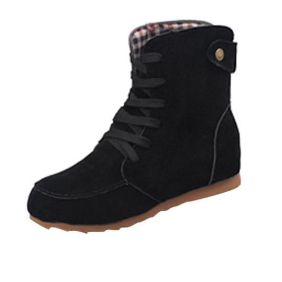 Femmes Flat Ankle Snow Motorcycle Boots Female Suede Leather Lace Up Boot Black _XI*5629