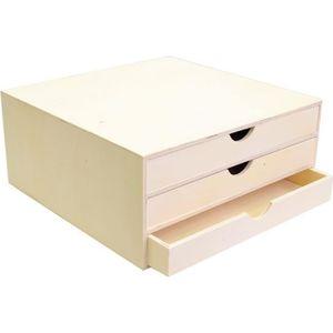Support à décorer Bloc en bois trois tiroirs 34,5x34x15,5cm - Artémi