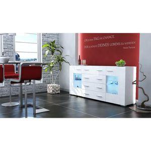 BUFFET - BAHUT  Buffet enfilade vitr  noir et blanc 166 cm